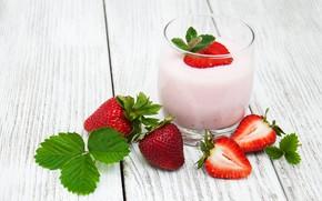 Picture glass, Breakfast, strawberry, yogurt, Olena Rudo