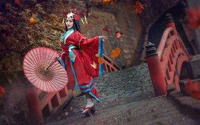 Wallpaper autumn, look, girl, red, face, style, background, dance, umbrella, makeup, hairstyle, costume, outfit, image, kimono, ...