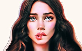 Picture look, girl, face, tenderness, figure, beauty, girl, beauty, face, look, tenderness, sincerity, sincerity, drawing, сжатые …