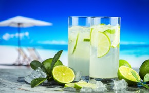 Picture beach, ice, lime, citrus, drink, mahito