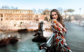 Picture the city, pose, river, model, portrait, makeup, dress, hairstyle, channel, brown hair, beauty, is, bokeh, …