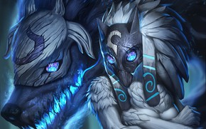 Picture wolf, mask, League Of Legends, Kindred