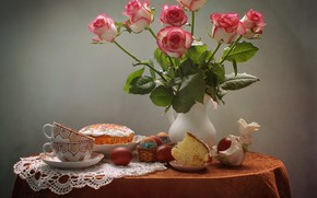 Picture flowers, table, holiday, roses, eggs, Easter, pigeons, Cup, pitcher, still life, cake, napkin, figure, eggs, …