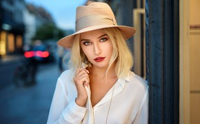 Picture look, pose, street, model, portrait, the evening, hat, makeup, hairstyle, blonde, beauty, in white, bokeh, …