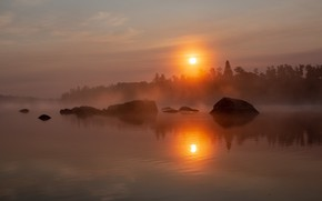 Picture the sun, sunset, fog, reflection, shore, pond