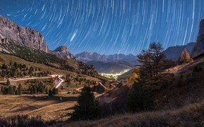 Picture road, autumn, forest, the sky, mountains, night, lights, hills, the slopes, tops, Alps, Alpine village, ...