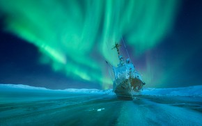 Picture winter, ship, Northern lights, frost, Russia, Murmansk oblast, Teriberka, Анастасия Малых