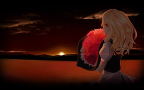 Picture sea, horizon, sunrise, long hair, art, dark sky, red roses, a bouquet of roses, witch …