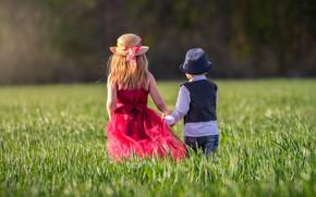 Picture greens, field, summer, grass, light, nature, children, mood, glade, hair, back, cute, spring, hat, boy, …