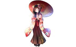 Picture girl, background, umbrella