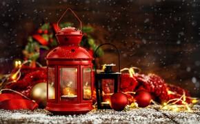 Wallpaper decoration, balls, New Year, Christmas, lantern, gifts, Christmas, balls, wood, New Year, gift, decoration, xmas, ...