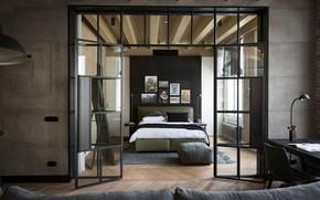 Picture design, interior, bedroom, Amsterdam, Glass doors