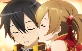 Picture kiss, anime, art, girl, Sword Art Online, Kirito, Sword Art Online