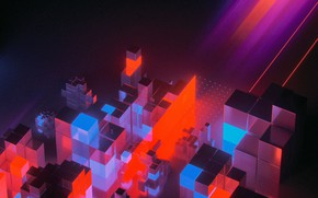 Picture Music, Neon, Style, Cubes, Style, Neon, Rendering, Illustration, Synth, Retrowave, Synthwave, New Retro Wave, Futuresynth, ...