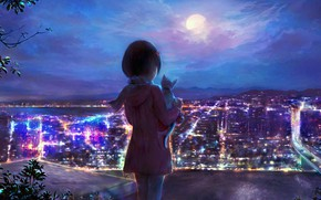 Picture night, the city, kitty, girl