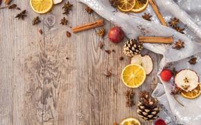 Picture winter, holiday, apples, Board, oranges, Christmas, New year, cinnamon, bumps, Christmas decorations, новогодние декорации
