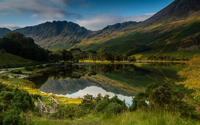 Picture mountains, nature, lake, photo, England, the bushes