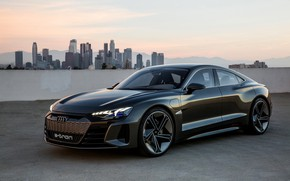Picture Audi, coupe, skyscrapers, 2018, e-tron GT Concept, the four-door