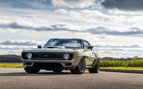 Picture Road, Grass, Chevrolet, 1969, Camaro, Lights, Drives, Chevrolet Camaro, Muscle car, Classic car, Wide Body …