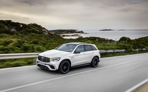 Picture road, coast, Mercedes-Benz, speed, AMG, crossover, GLC, 2020, 4Matic+, GLC 63S