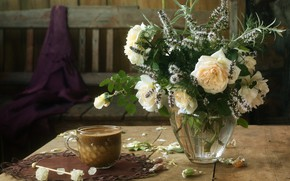 Picture flowers, bench, coffee, roses, bouquet, candy, mug, vase, white, still life