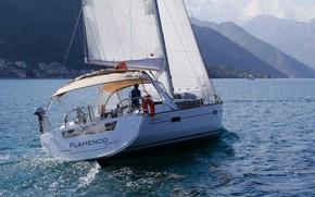 Picture sea, coast, yacht, sails, Flamenco, oc45-4c-2t