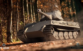 Picture Autumn, Tiger, Trees, Germany, Tank, Germany, World of Tanks, Wot, VK4503, Tiger III