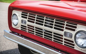 Picture red, Roadster, Ford, grille, 1966, Bronco