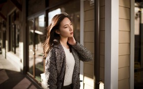 Picture pose, model, portrait, makeup, hairstyle, brown hair, Asian, bokeh, Kyle Cong