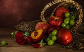 Picture apples, rose, grapes, fruit, still life, basket, peaches