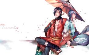 Picture umbrella, art, guys, Dramatical Murder, Dramatic murder, Aoba, Kogaku