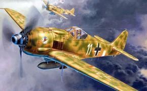 Picture fighter-bomber, Focke-Wulf, Luftwaffe, German single-seater single piston, FW-190F-8