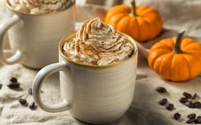 Picture autumn, comfort, coffee, cream, mug, pumpkin, fabric, drink, mugs, cappuccino, cream, coffee beans, bokeh