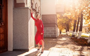 Picture street, the building, Girl, dress, Sergei Timashev