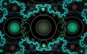 Picture circles, pattern, fractal, black background