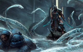 Picture lake, the game, people, the suit, warrior, art, monsters, creatures, aliens, Warframe