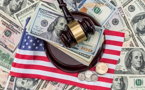 Picture United States, flag, money, dollars, justice, corruption