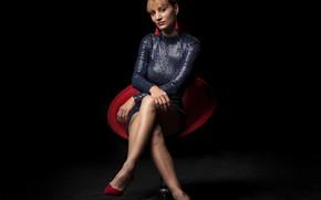 Picture look, pose, model, chair, dress, Tamara, beautiful legs
