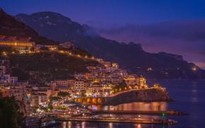 Picture sea, night, lights, home, Italy, Amalfi
