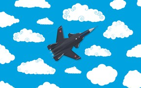 Picture Clouds, Minimalism, The plane, Fighter, Russia, Art, The view from the top, Su-47, The Russian …