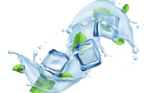 Picture white, water, squirt, background, cubes, splash, mint, ice