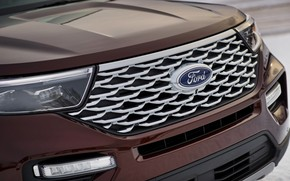 Picture Ford, the hood, grille, SUV, Explorer, Platinum, 2020