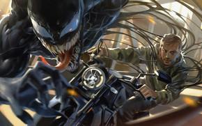 Picture art, motorcycle, Venom, Venom, symbiote, Eddie Brock