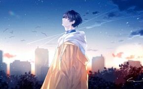 Picture the sky, the city, guy, look to the sky, by 世