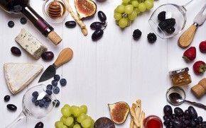 Picture wine, glass, cheese, strawberry, grapes, BlackBerry, jam, blueberries, figs