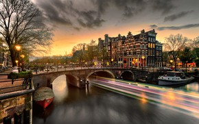 Picture machine, bridge, the city, home, the evening, lighting, Amsterdam, lights, channel, cars, bikes, Holland, Eduard …