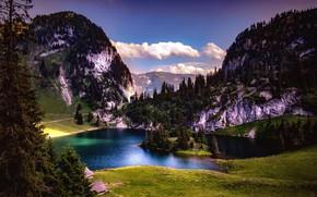 Picture mountains, lake, Switzerland, Stockhorn Romance, Hinterstockensee