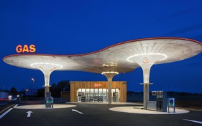 Picture road, the building, dressing, gas, twilight, gasoline, gasoline, gas station