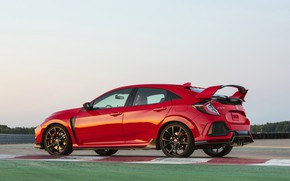Picture red, Honda, side view, track, hatchback, the five-door, 2019, Civic Type R, 5th gen, FK8