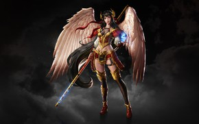 Picture Girl, Fantasy, Art, Style, Warrior, Illustration, Wings, Character, Dragon Soul Keeper, Chinese Warrior, Karmen Loh